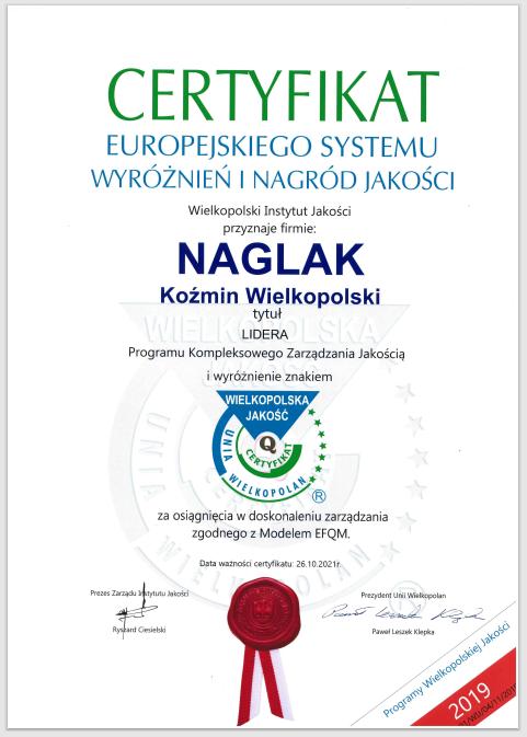 Naglak-Certfikat-europejskiego-systemu-wyroznien-i nagrod-jakosci-2019